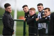 8 October 2019; Aaron Connolly with Republic of Ireland U21 players, from left, Danny Mandroiu, Kameron Ledwidge, Troy Parrott and Lee O'Connor following a Republic of Ireland training session at the FAI National Training Centre in Abbotstown, Dublin. Photo by Stephen McCarthy/Sportsfile