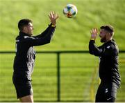 8 October 2019; John Egan, left, and Matt Doherty during a Republic of Ireland training session at the FAI National Training Centre in Abbotstown, Dublin. Photo by Stephen McCarthy/Sportsfile