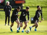 8 October 2019; Josh Cullen, left, and Sean Maguire during a Republic of Ireland training session at the FAI National Training Centre in Abbotstown, Dublin. Photo by Stephen McCarthy/Sportsfile