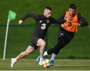 8 October 2019; Jack Byrne, left, and Matt Doherty during a Republic of Ireland training session at the FAI National Training Centre in Abbotstown, Dublin. Photo by Stephen McCarthy/Sportsfile