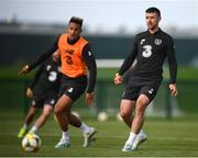 8 October 2019; Enda Stevens and Callum Robinson, left, during a Republic of Ireland training session at the FAI National Training Centre in Abbotstown, Dublin. Photo by Stephen McCarthy/Sportsfile