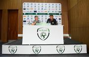 8 October 2019; Conor Coventry, left, and Conor Masterson during a Republic of Ireland U21's Press Conference at FAI National Training Centre in Abbotstown, Dublin. Photo by Harry Murphy/Sportsfile