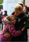 8 October 2019; Diane Caldwell of Republic of Ireland is greeted by Caitlin Stanley, age 8, from Celbridge, Kildare, prior to the UEFA Women's 2021 European Championships qualifier match between Republic of Ireland and Ukraine at Tallaght Stadium in Dublin. Photo by Stephen McCarthy/Sportsfile