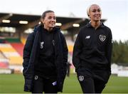 8 October 2019; Katie McCabe, left, and Stephanie Roche of Republic of Ireland prior to the UEFA Women's 2021 European Championships qualifier match between Republic of Ireland and Ukraine at Tallaght Stadium in Dublin. Photo by Stephen McCarthy/Sportsfile