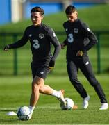 8 October 2019; Danny McNamara, left, and Troy Parrott during a Republic of Ireland U21's  Training Session at FAI National Training Centre in Abbotstown, Dublin. Photo by Harry Murphy/Sportsfile