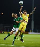 8 October 2019; Tamila Khimich of Ukraine in action against Heather Payne, left, and Denise O'Sullivan of Republic of Ireland during the UEFA Women's 2021 European Championships qualifier match between Republic of Ireland and Ukraine at Tallaght Stadium in Dublin. Photo by Stephen McCarthy/Sportsfile