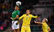8 October 2019; Rianna Jarrett of Republic of Ireland in action against Daryna Apanaschenko and Natiya Pantsulaya, right, of Ukraine during the UEFA Women's 2021 European Championships qualifier match between Republic of Ireland and Ukraine at Tallaght Stadium in Dublin. Photo by Stephen McCarthy/Sportsfile