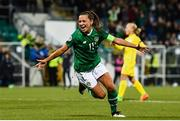 8 October 2019; Katie McCabe of Republic of Ireland celebrates after scoring her side's first goal during the UEFA Women's 2021 European Championships qualifier match between Republic of Ireland and Ukraine at Tallaght Stadium in Dublin. Photo by Eóin Noonan/Sportsfile