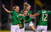 8 October 2019; Rianna Jarrett, right, celebrates with Republic of Ireland team-mates, from left, Diane Caldwell, Katie McCabe and Denise O'Sullivan after scoring her side's second goal during the UEFA Women's 2021 European Championships qualifier match between Republic of Ireland and Ukraine at Tallaght Stadium in Dublin. Photo by Stephen McCarthy/Sportsfile