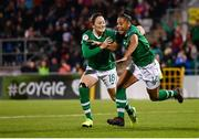 8 October 2019; Rianna Jarrett of Republic of Ireland celebrates after scoring her side's second goal with team-mate Megan Campbell, left, during the UEFA Women's 2021 European Championships qualifier match between Republic of Ireland and Ukraine at Tallaght Stadium in Dublin. Photo by Stephen McCarthy/Sportsfile