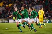 8 October 2019; Rianna Jarrett of Republic of Ireland celebrates after scoring her side's second goal with team-mates Heather Payne, left, and Megan Campbell, right, during the UEFA Women's 2021 European Championships qualifier match between Republic of Ireland and Ukraine at Tallaght Stadium in Dublin. Photo by Stephen McCarthy/Sportsfile