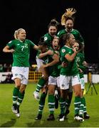 8 October 2019; Katie McCabe celebrates with Republic of Ireland team-mates after scoring their first goal during the UEFA Women's 2021 European Championships qualifier match between Republic of Ireland and Ukraine at Tallaght Stadium in Dublin. Photo by Stephen McCarthy/Sportsfile