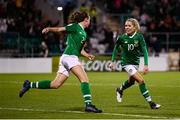 8 October 2019; Republic of Ireland players Denise O'Sullivan, right, and Heather Payne celebrate their third goal during the UEFA Women's 2021 European Championships qualifier match between Republic of Ireland and Ukraine at Tallaght Stadium in Dublin. Photo by Stephen McCarthy/Sportsfile