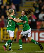8 October 2019; Denise O'Sullivan of Republic of Ireland celebrates with team-mate Heather Payne after scoring her side's third goal during the UEFA Women's 2021 European Championships qualifier match between Republic of Ireland and Ukraine at Tallaght Stadium in Dublin. Photo by Eóin Noonan/Sportsfile