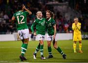 8 October 2019; Republic of Ireland players Denise O'Sullivan, Heather Payne, right, and Rianna Jarrett, left, celebrate their third goal during the UEFA Women's 2021 European Championships qualifier match between Republic of Ireland and Ukraine at Tallaght Stadium in Dublin. Photo by Stephen McCarthy/Sportsfile