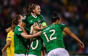 8 October 2019; Republic of Ireland players, from left, Heather Payne, Katie McCabe, top, Denise O'Sullivan and Rianna Jarrett celebrate their third goal during the UEFA Women's 2021 European Championships qualifier match between Republic of Ireland and Ukraine at Tallaght Stadium in Dublin. Photo by Stephen McCarthy/Sportsfile