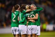8 October 2019; Republic of Ireland players, including Diane Caldwell, right, and Denise O'Sullivan, celebrate their third goal during the UEFA Women's 2021 European Championships qualifier match between Republic of Ireland and Ukraine at Tallaght Stadium in Dublin. Photo by Stephen McCarthy/Sportsfile