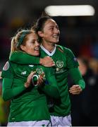 8 October 2019; Denise O'Sullivan, left, and Megan Campbell of Republic of Ireland following the UEFA Women's 2021 European Championships qualifier match between Republic of Ireland and Ukraine at Tallaght Stadium in Dublin. Photo by Eóin Noonan/Sportsfile