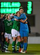 8 October 2019; Megan Connolly, left, with Marie Hourihan of Republic of Ireland following the UEFA Women's 2021 European Championships qualifier match between Republic of Ireland and Ukraine at Tallaght Stadium in Dublin. Photo by Eóin Noonan/Sportsfile