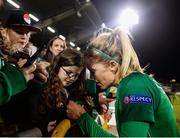 8 October 2019; Denise O'Sullivan of Republic of Ireland signing an autograph following the UEFA Women's 2021 European Championships qualifier match between Republic of Ireland and Ukraine at Tallaght Stadium in Dublin. Photo by Eóin Noonan/Sportsfile