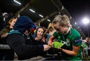 8 October 2019; Megan Connolly of Republic of Ireland signing an autograph following the UEFA Women's 2021 European Championships qualifier match between Republic of Ireland and Ukraine at Tallaght Stadium in Dublin. Photo by Eóin Noonan/Sportsfile