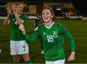 8 October 2019; Megan Campbell of Republic of Ireland celebrates following the UEFA Women's 2021 European Championships qualifier match between Republic of Ireland and Ukraine at Tallaght Stadium in Dublin. Photo by Stephen McCarthy/Sportsfile