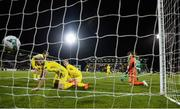 8 October 2019; Natiya Pantsulaya, 13, of Ukraine deflects the ball into the net for Republic of Ireland's thrid goal during the UEFA Women's 2021 European Championships qualifier match between Republic of Ireland and Ukraine at Tallaght Stadium in Dublin. Photo by Stephen McCarthy/Sportsfile