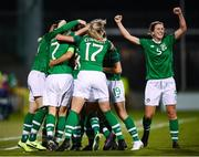 8 October 2019; Republic of Ireland players, including Niamh Fahey, right, celebrate their second goal, scored by Rianna Jarrett, during the UEFA Women's 2021 European Championships qualifier match between Republic of Ireland and Ukraine at Tallaght Stadium in Dublin. Photo by Stephen McCarthy/Sportsfile