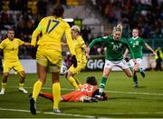 8 October 2019; Natiya Pantsulaya of Ukraine deflects the ball into the net for Republic of Ireland's thrid goal during the UEFA Women's 2021 European Championships qualifier match between Republic of Ireland and Ukraine at Tallaght Stadium in Dublin. Photo by Stephen McCarthy/Sportsfile