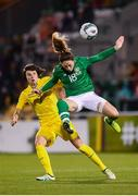 8 October 2019; Megan Campbell of Republic of Ireland and Yana Kalinina of Ukraine during the UEFA Women's 2021 European Championships qualifier match between Republic of Ireland and Ukraine at Tallaght Stadium in Dublin. Photo by Stephen McCarthy/Sportsfile