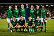 8 October 2019; The Republic of Ireland team, back row, from left, Niamh Fahey, Diane Caldwell, Louise Quinn, Marie Hourihan, Megan Connolly, Megan Campbell and Rianna Jarrett, with, front row, Keeva Keenan, Harriet Scott, Katie McCabe and Denise O'Sullivan during the UEFA Women's 2021 European Championships qualifier match between Republic of Ireland and Ukraine at Tallaght Stadium in Dublin. Photo by Stephen McCarthy/Sportsfile