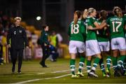 8 October 2019; Republic of Ireland manager Vera Pauw and players celebrate their second goal during the UEFA Women's 2021 European Championships qualifier match between Republic of Ireland and Ukraine at Tallaght Stadium in Dublin. Photo by Stephen McCarthy/Sportsfile