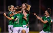 8 October 2019; Republic of Ireland players celebrate after Rianna Jarrett scored their second goal during the UEFA Women's 2021 European Championships qualifier match between Republic of Ireland and Ukraine at Tallaght Stadium in Dublin. Photo by Stephen McCarthy/Sportsfile
