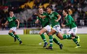 8 October 2019; Rianna Jarrett celebrates with Republic of Ireland team-mates, including Heather Payne, 2, after scoring her side's second goal during the UEFA Women's 2021 European Championships qualifier match between Republic of Ireland and Ukraine at Tallaght Stadium in Dublin. Photo by Stephen McCarthy/Sportsfile