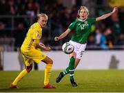 8 October 2019; Megan Connolly of Republic of Ireland and Veronika Andrukhiv of Ukraine during the UEFA Women's 2021 European Championships qualifier match between Republic of Ireland and Ukraine at Tallaght Stadium in Dublin. Photo by Stephen McCarthy/Sportsfile