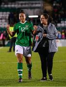 8 October 2019; Rianna Jarrett of Republic of Ireland and communications officer Martina Genockey following the UEFA Women's 2021 European Championships qualifier match between Republic of Ireland and Ukraine at Tallaght Stadium in Dublin. Photo by Stephen McCarthy/Sportsfile