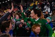 8 October 2019; Megan Campbell of Republic of Ireland with supporters following the UEFA Women's 2021 European Championships qualifier match between Republic of Ireland and Ukraine at Tallaght Stadium in Dublin. Photo by Stephen McCarthy/Sportsfile