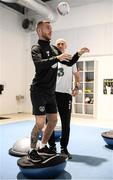 9 October 2019; Jack Byrne and team physiotherapist Tony McCarty during a Republic of Ireland gym session at FAI National Training Centre in Abbotstown, Dublin. Photo by Stephen McCarthy/Sportsfile