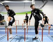 9 October 2019; Matt Doherty and Scott Hogan, left, during a Republic of Ireland gym session at FAI National Training Centre in Abbotstown, Dublin. Photo by Stephen McCarthy/Sportsfile
