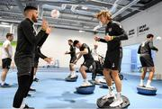 9 October 2019; Matt Doherty, left, and Jeff Hendrick during a Republic of Ireland gym session at FAI National Training Centre in Abbotstown, Dublin. Photo by Stephen McCarthy/Sportsfile