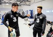 9 October 2019; John Egan, left, and Callum Robinson during a Republic of Ireland gym session at FAI National Training Centre in Abbotstown, Dublin. Photo by Stephen McCarthy/Sportsfile