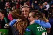 8 October 2019; Savannah McCarthy with Grace Moloney, left, and Megan Connolly, right, following the UEFA Women's 2021 European Championships qualifier match between Republic of Ireland and Ukraine at Tallaght Stadium in Dublin. Photo by Stephen McCarthy/Sportsfile