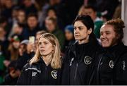 8 October 2019; Members of the Republic of Ireland staff, from left, Orla Haran, kit and equipment manager, Meave Doheny, team doctor, and Kate Keaney, STATSports performance analysist, during the UEFA Women's 2021 European Championships qualifier match between Republic of Ireland and Ukraine at Tallaght Stadium in Dublin. Photo by Stephen McCarthy/Sportsfile