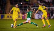 8 October 2019; Katie McCabe of Republic of Ireland in action against Veronika Andrukhiv, left, and Iya Andrushchak of Ukraine during the UEFA Women's 2021 European Championships qualifier match between Republic of Ireland and Ukraine at Tallaght Stadium in Dublin. Photo by Stephen McCarthy/Sportsfile