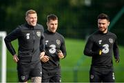 9 October 2019; Republic of Ireland players, from left, James McClean, James Collins and Scott Hogan during a Republic of Ireland training session at the FAI National Training Centre in Abbotstown, Dublin. Photo by Seb Daly/Sportsfile