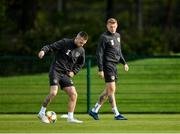 9 October 2019; Jack Byrne, left, and James McClean during a Republic of Ireland training session at the FAI National Training Centre in Abbotstown, Dublin. Photo by Seb Daly/Sportsfile