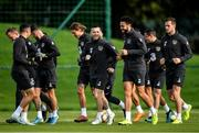 9 October 2019; Jack Byrne, centre, and Derrick Williams during a Republic of Ireland training session at the FAI National Training Centre in Abbotstown, Dublin. Photo by Seb Daly/Sportsfile