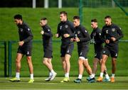 9 October 2019; Republic of Ireland players, from left, Derrick Williams, Jack Byrne, Kevin Long, James Collins, Alan Browne and Conor Hourihane during a training session at the FAI National Training Centre in Abbotstown, Dublin. Photo by Seb Daly/Sportsfile