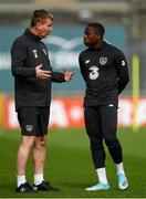 9 October 2019; Republic of Ireland U21 head coach Stephen Kenny speaks with Michael Obafemi during a Republic of Ireland U21's Training Session at Tallaght Stadium in Dublin. Photo by Harry Murphy/Sportsfile