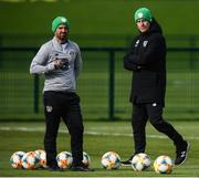 9 October 2019; Republic of Ireland manager Mick McCarthy and fitness coach Andy Liddle, left, during a Republic of Ireland training session at the FAI National Training Centre in Abbotstown, Dublin. Photo by Stephen McCarthy/Sportsfile